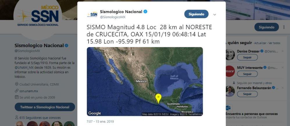 Se registra sismo en Crucecita, Oaxaca