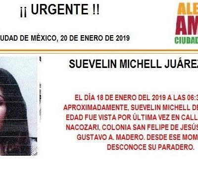 Alerta Amber: Ayuda a localizar a Suevelin Michell Juárez Meza