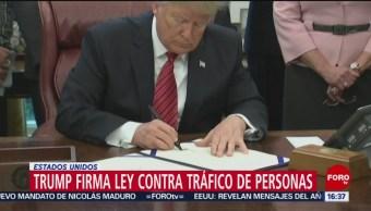 Trump firma ley contra trata de personas