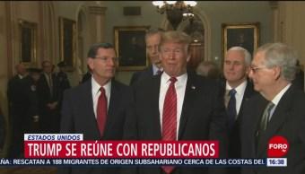 Trump se reúne con legisladores republicanos; reitera necesidad de construir muro