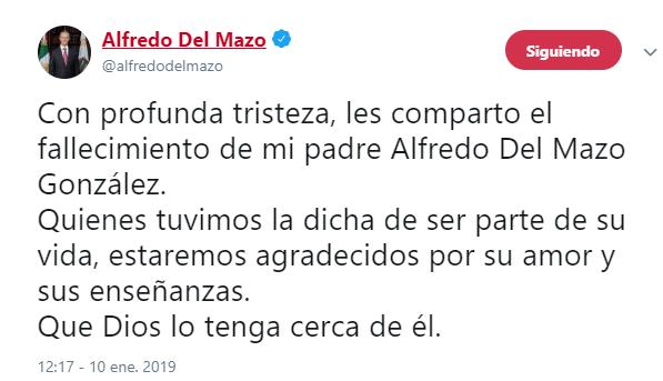Fallece padre de Alfredo del Mazo y exgobernador del Edomex