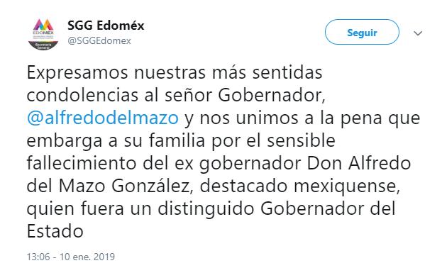 Muere padre de Alfredo del Mazo y exgobernador del Edomex
