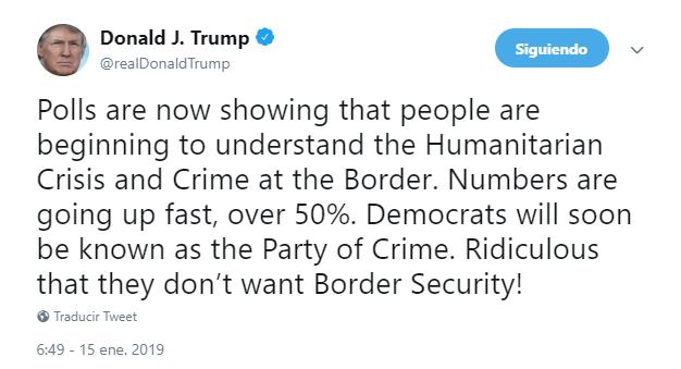 Trump: Solo muro puede detener nueva caravana migrante