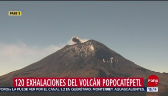 Foto: Volcán Popocatépetl emite 120 exhalaciones