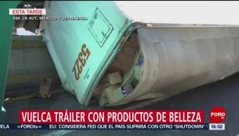 Foto: Vuelca Tráiler Productos Belleza México-Cuernavaca 30 de Enero 2019