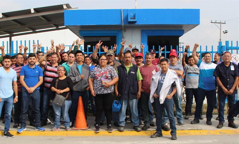 Foto: Un grupo de empleados de una maquiladora protestan en la ciudad de Matamoros, en el estado de Tamaulipas, el 7 de febrero de 2019