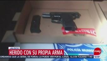 Asaltante resulta herido con su propia arma en Jalisco