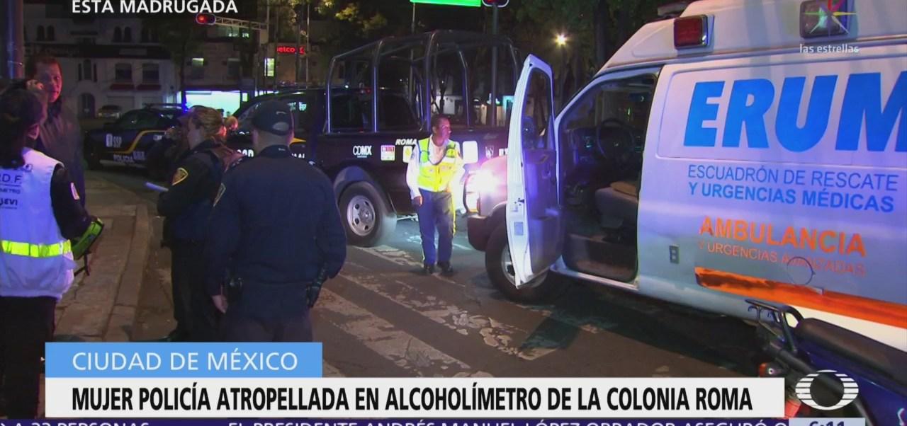 Atropellan a mujer policía en alcoholímetro de la colonia Roma