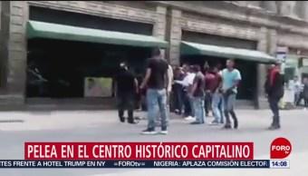 FOTO: Captan en video pelea en el Centro Histórico de CDMX, 17 febrero 2019