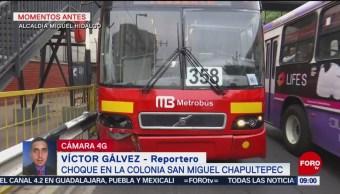 Foto: Choca Metrobús en la alcaldía Miguel Hidalgo, CDMX