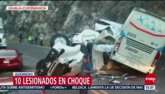 Choque en la Autopista del Sol deja diez heridos