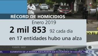 Cifra de homicidios alcanza récord en enero pasado