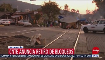 Foto: CNTE anuncia retiro de bloqueos en Michoacán