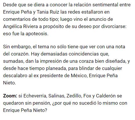 IMAGEN Fragmento de la columna de Ricardo Raphael sobre Peña Nieto 11 febrero 2019 El Universal CDMX