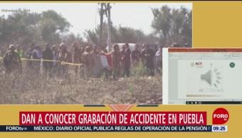 Dan a conocer grabación de accidente de helicóptero en Puebla