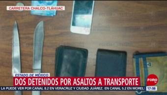 FOTO: Dos detenidos por asaltos a transporte en Edomex, 17 febrero 2019