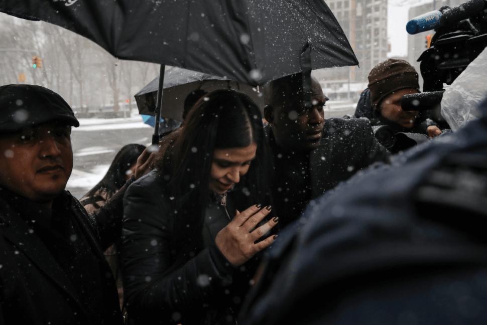 Foto: Emma Coronel, esposa de 'El Chapo' Guzmán, a su llegada a la corte de NY, 12 de febrero 2019, Estados Unidos
