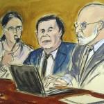 """Foto: Boceto del juicio de Joaquín """"El Chapo"""" Guzmán"""" en Nueva York, EEUU, del 7 de febrero de 2019"""