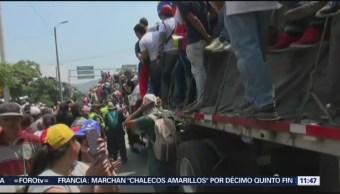 FOTO: Frenan corredor humanitario con ayudas en puente fronterizo de Venezuela con Colombia, 23 febrero 2019