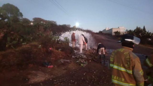 Una fuga de hidrocarburo en una toma clandestina en el municipio Cuautepec, Hidalgo, 10 febrero 2019