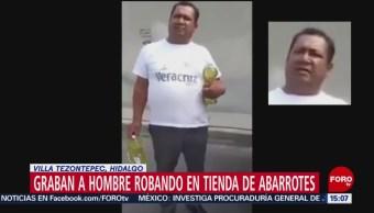 Foto: Graban a hombre robando en tienda de abarrotes en Hidalgo