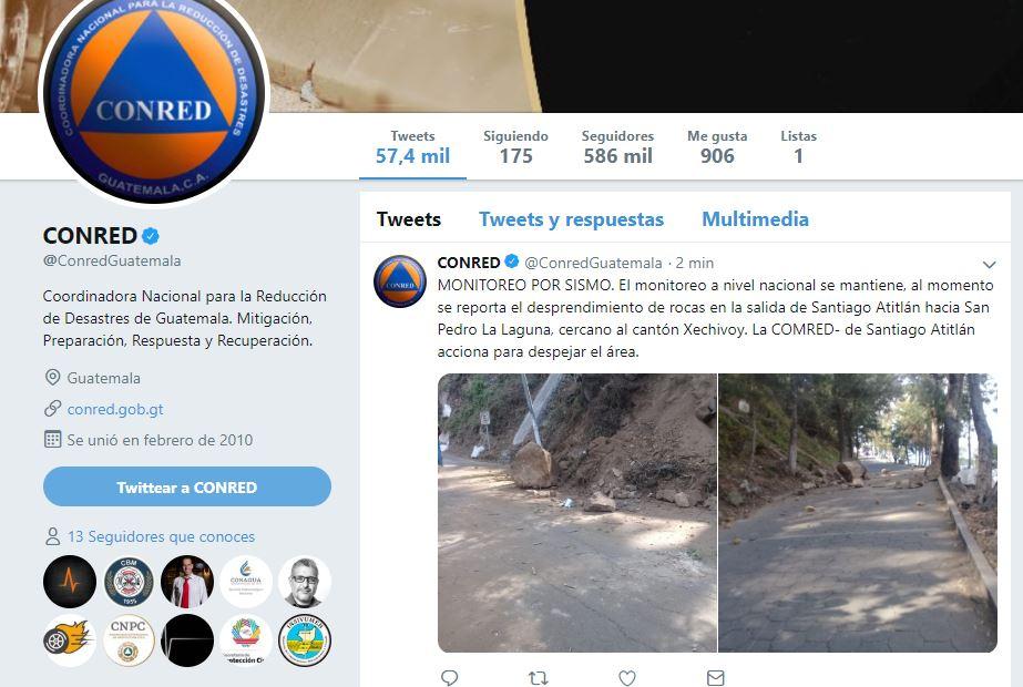 Foto: La Coordinadora Nacional para la Reducción de Desastres de Guatemala reportó el desprendimiento de rocas, 1 febrero 2019