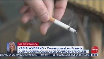 FOTO: Guerra contra colillas de cigarro en calles de Paris, 16 febrero 2019