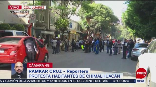 Habitantes de Chimalhuacán protestan en la alcaldía Cuauhtémoc