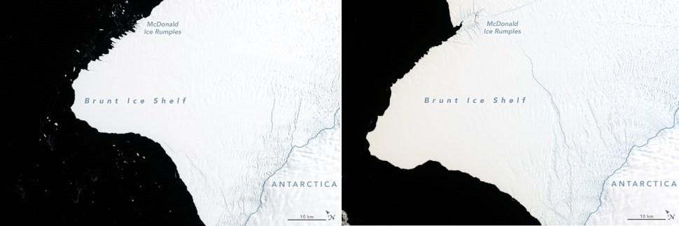foto imagen comparativa iceberg antartida 1986 2019