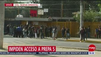 Impiden acceso a Prepa 5 en la alcaldía Coyoacán