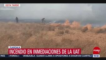 Foto: Incendio en inmediaciones de la Universidad Autónoma de Tlaxcala