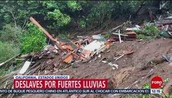 Lluvias intensas provocan deslaves en California