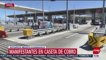 Foto: Manifestantes protestan en autopista México-Cuernavaca