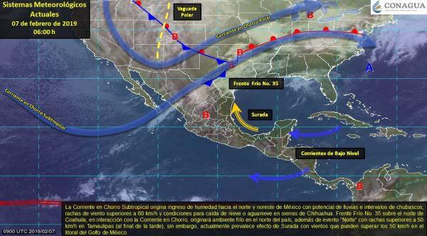 Foto: Mapa con el pronóstico del clima para este 7 de febrero