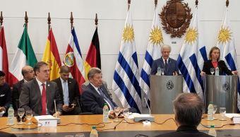 Foto: El secretario de Relaciones Exteriores de México, Marcelo Ebrard (3i), en la primera reunión del Grupo Internacional de Contacto sobre Venezuela, 7 febrero 2019