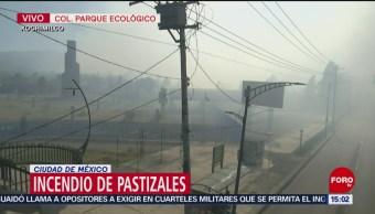 Foto: Movilización por incendio en parque ecológico de Xochimilco
