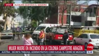 Muere mujer en incendio en la colonia Campestre Aragón