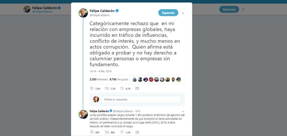 Foto: Niega Felipe Calderón actos de corrupción 5 febrero 2019