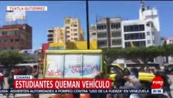Foto: Normalistas Incendian Camión Tuxtla Gutiérrez 12 de Febrero 2019