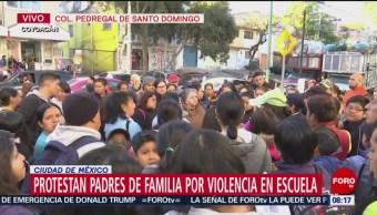 Padres de familia protestan por violencia en escuela de Coyoacán