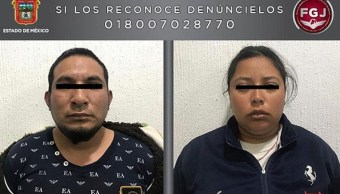 Foto: Pareja detenida por traslado de cuerpo de una niña en un tambo. 20 de febrero 2019. Twitter @FiscaliaEdomex
