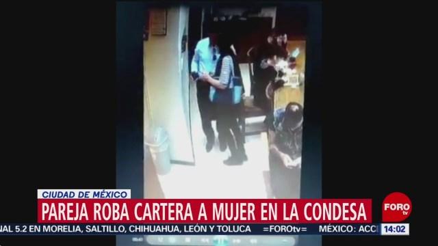 FOTO: Pareja roba cartera a mujer en la Condesa en CDMX, 10 febrero 2019