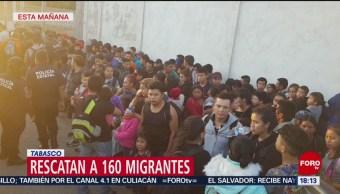Foto: Policías de Tabasco rescatan a 160 migrantes