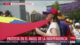 FOTO: Protestan contra Maduro en el Ángel de la Independencia, 23 febrero 2019