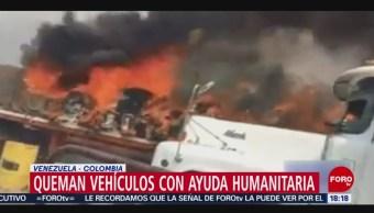 FOTO: Queman vehículos con ayuda humanitaria en Venezuela, 23 febrero 2019