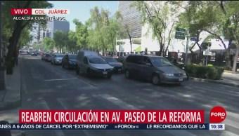 Reabren circulación en paseo de la Reforma tras bloqueo
