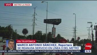 Foto: Reanudan servicio en L3 del Metro de CDMX