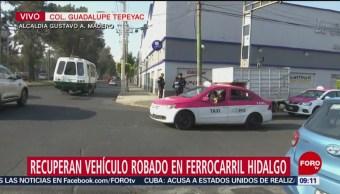 Recuperan vehículo robado en Ferrocarril Hidalgo, CDMX