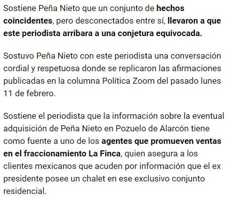 IMAGEN Fragmento de la segunda columna de Ricardo Raphael sobre Peña Nieto El Universal cdmx 18 febrero 2019