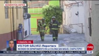 Se incendia departamento en la alcaldía Miguel Hidalgo